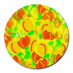 Yellow garden Round Mousepads Front