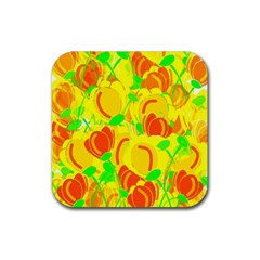 Yellow Garden Rubber Square Coaster (4 Pack)  by Valentinaart