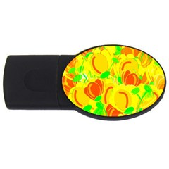 Yellow Garden Usb Flash Drive Oval (2 Gb)  by Valentinaart