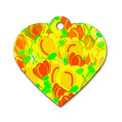 Yellow Garden Dog Tag Heart (two Sides) by Valentinaart