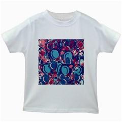 Blue Garden Kids White T Shirts by Valentinaart