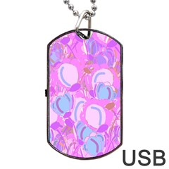 Pink garden Dog Tag USB Flash (Two Sides)  by Valentinaart