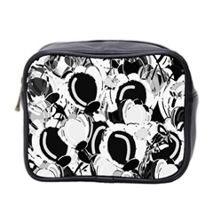 Black And White Garden Mini Toiletries Bag 2 Side by Valentinaart