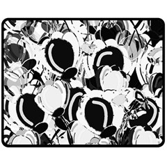 Black And White Garden Fleece Blanket (medium)  by Valentinaart