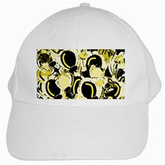 Yellow Abstract Garden White Cap by Valentinaart