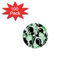 Green Abstract Garden 1  Mini Buttons (100 Pack)  by Valentinaart
