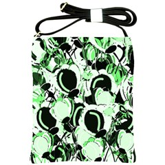 Green Abstract Garden Shoulder Sling Bags by Valentinaart