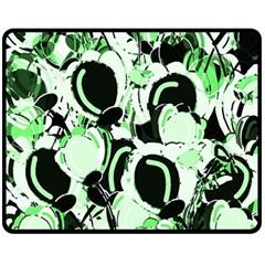 Green Abstract Garden Fleece Blanket (medium)  by Valentinaart