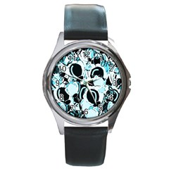 Blue Abstract  Garden Round Metal Watch by Valentinaart