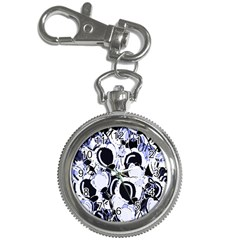 Blue Abstract Floral Design Key Chain Watches by Valentinaart