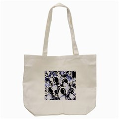 Blue Abstract Floral Design Tote Bag (cream) by Valentinaart