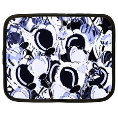 Blue Abstract Floral Design Netbook Case (xl)  by Valentinaart