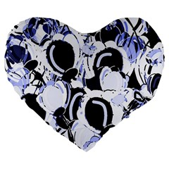 Blue Abstract Floral Design Large 19  Premium Heart Shape Cushions by Valentinaart