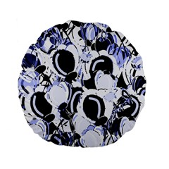 Blue Abstract Floral Design Standard 15  Premium Flano Round Cushions by Valentinaart