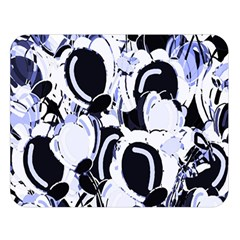 Blue Abstract Floral Design Double Sided Flano Blanket (large)  by Valentinaart
