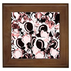 Pink Abstract Garden Framed Tiles by Valentinaart