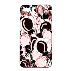 Pink Abstract Garden Apple Iphone 4/4s Seamless Case (black) by Valentinaart