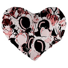Pink Abstract Garden Large 19  Premium Flano Heart Shape Cushions by Valentinaart