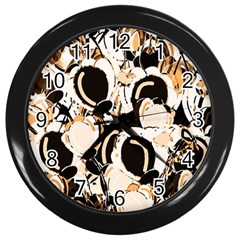 Orange Abstract Garden Wall Clocks (black) by Valentinaart