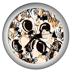 Orange Abstract Garden Wall Clocks (silver)  by Valentinaart