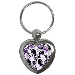 Purple Abstract Garden Key Chains (heart)  by Valentinaart