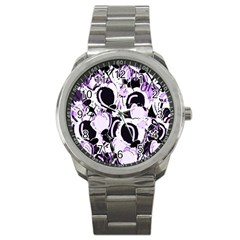 Purple Abstract Garden Sport Metal Watch by Valentinaart