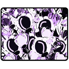 Purple Abstract Garden Fleece Blanket (medium)  by Valentinaart