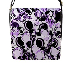 Purple Abstract Garden Flap Messenger Bag (l)  by Valentinaart