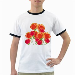 Orange Flowers  Ringer T Shirts by Valentinaart