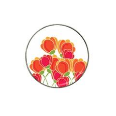 Orange Flowers  Hat Clip Ball Marker by Valentinaart