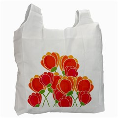 Orange Flowers  Recycle Bag (one Side) by Valentinaart