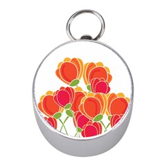 Orange Flowers  Mini Silver Compasses by Valentinaart
