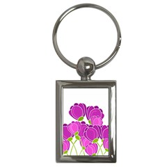 Purple Flowers Key Chains (rectangle)  by Valentinaart