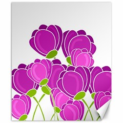 Purple Flowers Canvas 8  X 10  by Valentinaart