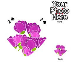 Purple Flowers Playing Cards 54 (heart)  by Valentinaart