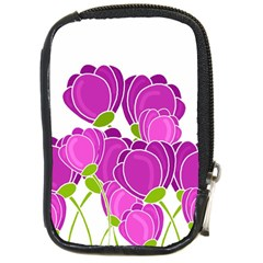 Purple Flowers Compact Camera Cases by Valentinaart