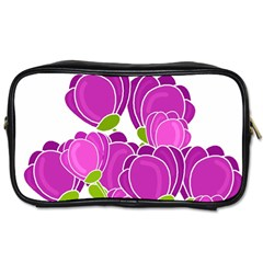 Purple Flowers Toiletries Bags by Valentinaart