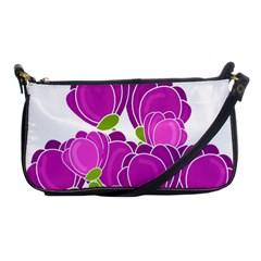 Purple Flowers Shoulder Clutch Bags by Valentinaart