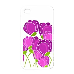 Purple Flowers Apple Iphone 4 Case (white) by Valentinaart