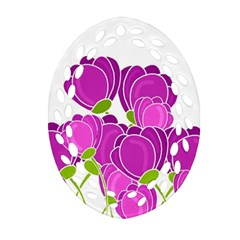 Purple Flowers Ornament (oval Filigree)  by Valentinaart