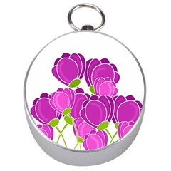 Purple Flowers Silver Compasses by Valentinaart