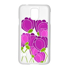 Purple Flowers Samsung Galaxy S5 Case (white) by Valentinaart
