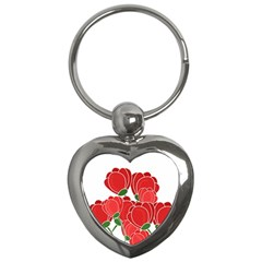 Red Floral Design Key Chains (heart)  by Valentinaart