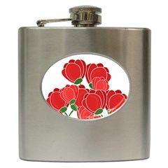 Red Floral Design Hip Flask (6 Oz) by Valentinaart