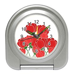 Red Floral Design Travel Alarm Clocks by Valentinaart