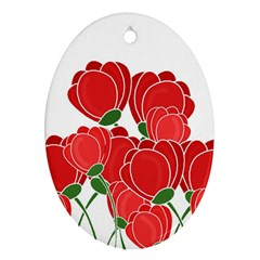 Red Floral Design Oval Ornament (two Sides) by Valentinaart