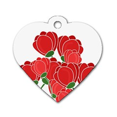 Red Floral Design Dog Tag Heart (one Side) by Valentinaart