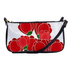 Red Floral Design Shoulder Clutch Bags by Valentinaart