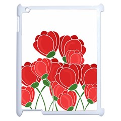 Red Floral Design Apple Ipad 2 Case (white) by Valentinaart