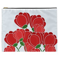 Red Floral Design Cosmetic Bag (xxxl)  by Valentinaart